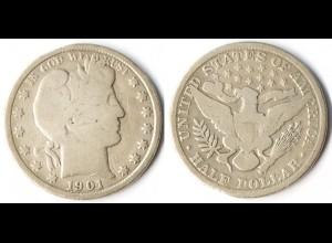 USA 1/2 Dollar Silber-Münze 1901 Barber (r1245