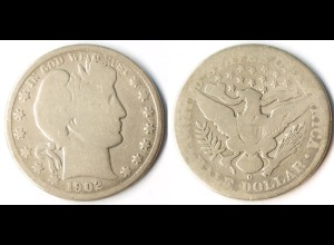 USA 1/2 Dollar Silber-Münze 1902 O New Orleans Barber (r1244