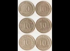 10 Pfg. Kaiserreich EMPIRE 1912 alle 6 Buchst.Jäger 13 (677