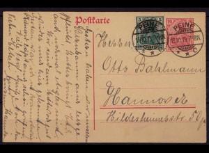 Peine GS m.Zusatzfrankatur Kreisgitterstempel 1919(b803