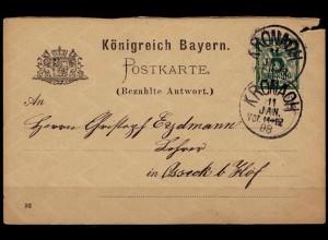 Kronach Bayern Antwortkarte nach Osseck 1888 (b809