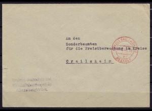 Künzelsau Gebühr bezahlt rot nach Crailsheim 1946 (b331