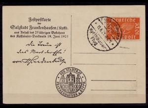 FESTPOSTKARTE FRANKENHAUSEN KYFFHÄUSER-FLUG 1921 (b681
