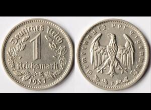 1 Mark WW2 3. Reich 1937 F Jäger Nummer 354 (r671