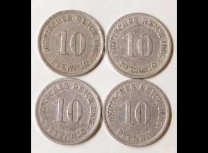 10 Pfg. Kaiserreich EMPIRE 1905 A,F,G,D, Jäger 13 (692