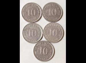 10 Pfg. Kaiserreich EMPIRE 1907 A,E,F,G,J, Jäger 13 (694