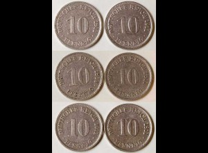10 Pfg. Kaiserreich EMPIRE 1911 alle 6 Buchst.Jäger 13 (699
