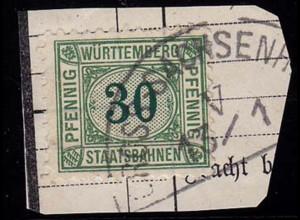 Gross Sachsenheim Segmentstempel a. Eisenbahn-Mk. (b341