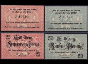 Sachsen-Anhalt - Thale - 25 + 50 Pfennig Notgeld - 1921 (ca519