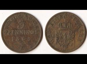 Brandenburg-Preussen 3 Pfennig 1868 A - Wilhelm I. 1861-1888 (p814