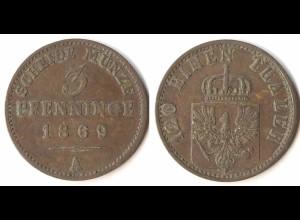 Brandenburg-Preussen 3 Pfennig 1869 A - Wilhelm I. 1861-1888 (p815