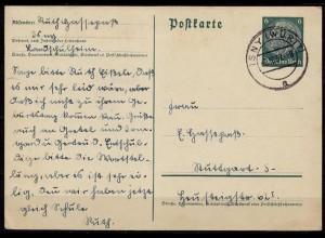 ISNY nach Stuttgart auf Ganzsache 1937 (b695