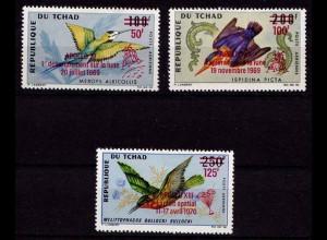 Tschad Overprint Vögel Birds Wildlife 1970 ** (b466