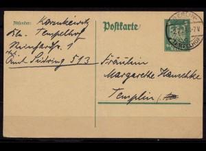 Berlin Tempelhof nach Templin Ganzsachen Karte (b696