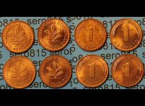 1 Pfennig complete set year 1978 all Mintmarks (432
