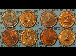 2 Pfennig complete set year 1965 all Mintmarks (444