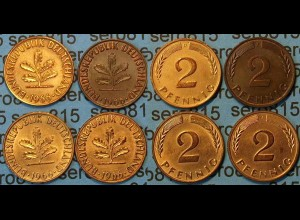 2 Pfennig complete set year 1966 all Mintmarks (445
