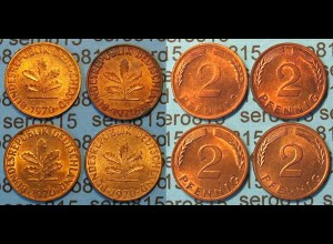 2 Pfennig complete set year 1970 all Mintmarks (447