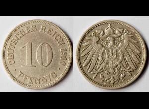 10 Pfennig Kaiserreich EMPIRE 1910 D - Jäger 13 (r337