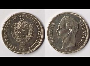 Venezuela 5 Bolivar 1977 Staatswappen + Simon Bolivar (p973