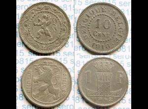 Belgien Belgium 2 Stück 10 Cent 1 Fr. 1916 + 1942 (b531