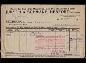 Herford Jursch & Schwanke alte Rechnung 1922 Infla(d024