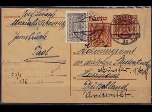 Österreich Innsbruck - Münster Ganzsache Karte 1923 Infla (d029