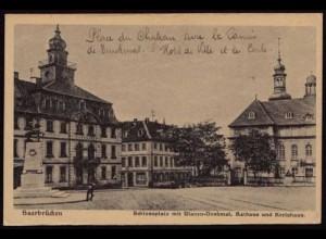 AK Saarbrücken Schlossplatz Ulanen Denkmal Kreis (8501