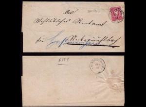 Rappenau n. Hassmersheim DR Umschlag doppelt verwendet 1884 (b151