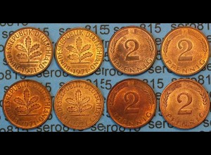2 Pfennig complete set year 1971 all Mintmarks (448