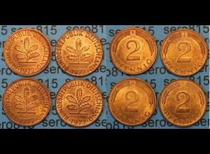 2 Pfennig complete set year 1972 all Mintmarks (449