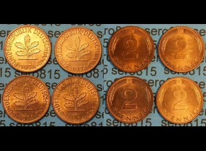 2 Pfennig complete set year 1974 all Mintmarks (451