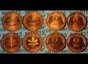 2 Pfennig complete set year 1976 all Mintmarks (453