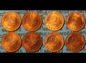 2 Pfennig complete set year 1978 all Mintmarks (455