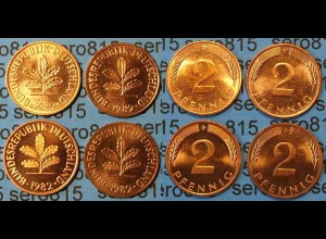 2 Pfennig complete set year 1982 all Mintmarks (458