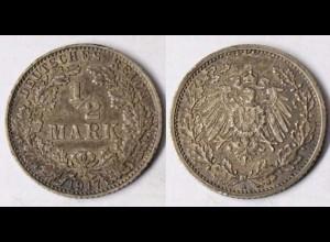 1/2 Mark Silber EMPIRE Kaiserreich 1917 A Jäger Nummer 16 (r021
