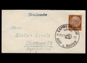 Camberg Nassau nach Hamburg Miniatur Umschlaf SST (b158