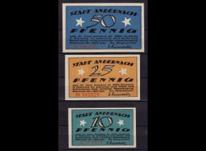 Rheinland Andernach 1920 3 Stück Notgeld Serie (c634