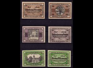 Thüringen Berga / Elster 3 Stück Notgeld 1920 m. WZ (c672a