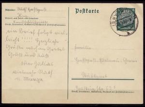 ISNY nach Stuttgart Ganzsache 1937 (b727