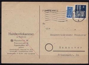 Hannover Bauten Ortkarte Maschinen Stempel 1950 (b730