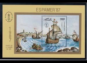 Karibik 1987 Schiff Galone um 1525 Block 101 **(b347