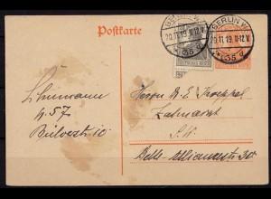 Berlin Infla Ganzsache mit Zusatzfrankatur 1919 (b723