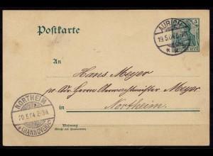 Aurich nach Northeim Ganzsache 1904 (b725