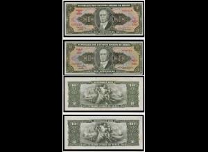 Brasilien 1 Cent. auf 1o Cruzeiros P.183a + b UNC (d098