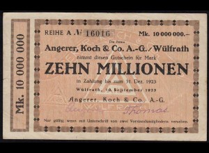 Rheinland - Wülfrath 10 Millionen Mark 1923 Notgeld Angerer Koch NUMMER! (15675