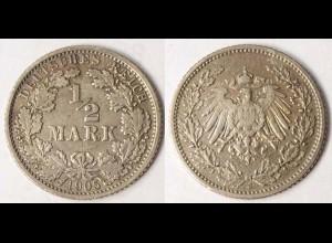 1/2 Mark Kaiserreich EMPIRE 1905 J Silber Jäger 16 (r006
