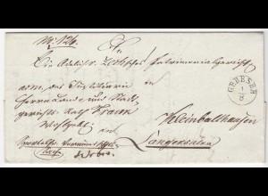 Gebesee nach Langensalza Vorphila m.Inhalt 1844 Preußen (Thüringen) (d648