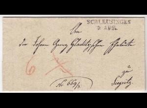 Schleusingen L2 nach Siegritz Vorphila mit Inhalt 1841 Taxierungen (d649