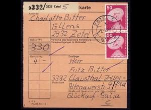 Zetel nach Clausthal-Zellerfeld Paketkarte 1976 (b972